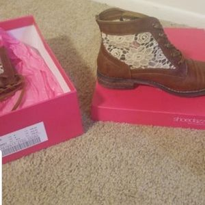 Shoe Dazzle Shoes - Cognac Lace Booties
